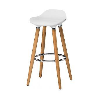 Fusion Living White Plastic Bar Sgabello con gambe in legno di faggio