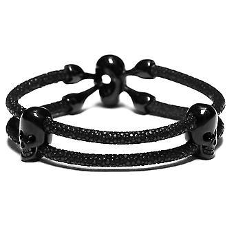 Lavriche Stingray Leder-Armband mit Perle Skull schwarz hochwertige