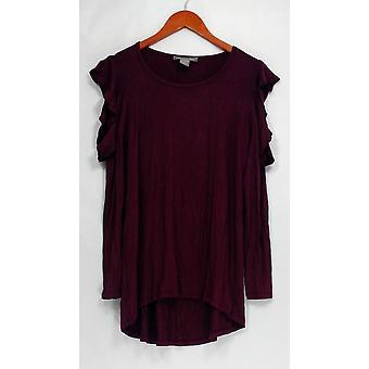 Kate et Mallory Top Long Sleeve Scoopneck Salut-bas Hem Wine Red A437567