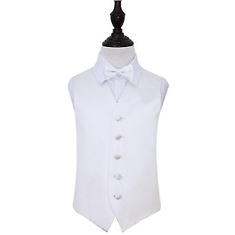 Boy's White Plain Satin Wedding Waistcoat & Bow Tie Set
