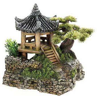 Classic For Pets Pagoda House&Plants 210mm (Fish , Decoration , Ornaments)