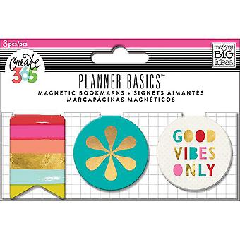 Create 365 Happy Planner Magnetic Clips 3/Pkg-Bright Heart MAGC-07