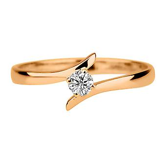 0.30ct White Sapphire Ring Rose Gold 14K Twist Round
