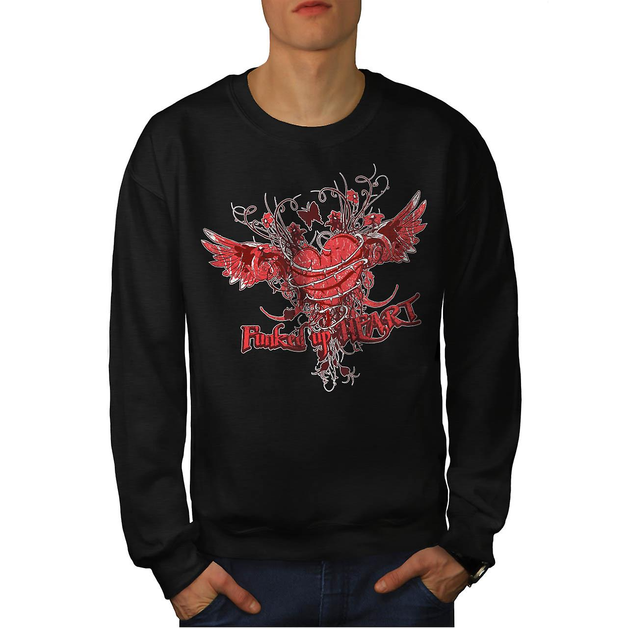 Funked Up coeur amour épine Rose hommes Black Sweatshirt | Wellcoda