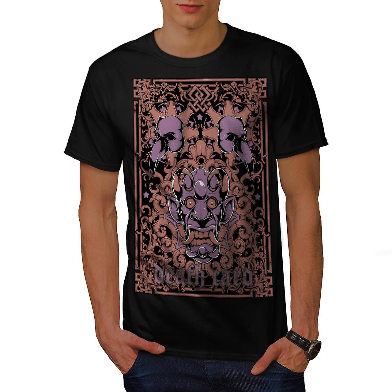 Devil Death Card Bird Gambling Men Black T-shirt | Wellcoda