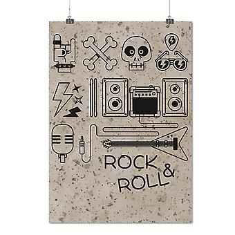 Matte or Glossy Poster with Rock & Roll Skull Music Rock And Roll | Wellcoda | *q1201