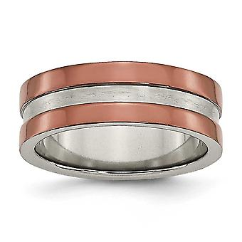 Titanium Polished Engravable Brown IP-plated Grooved 8mm Brown Plated Band Ring - Ring Size: 7 to 12.5