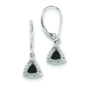 Sterling Silver Black and White Diamond Earrings - .20 dwt