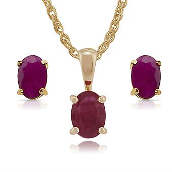 Gemondo 9ct Yellow Gold Ruby Claw Set Oval Stud Earring & 45cm Necklace Set