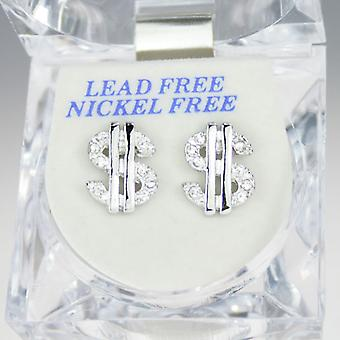 Iced out bling earrings box - DOLLAR SIGN silver