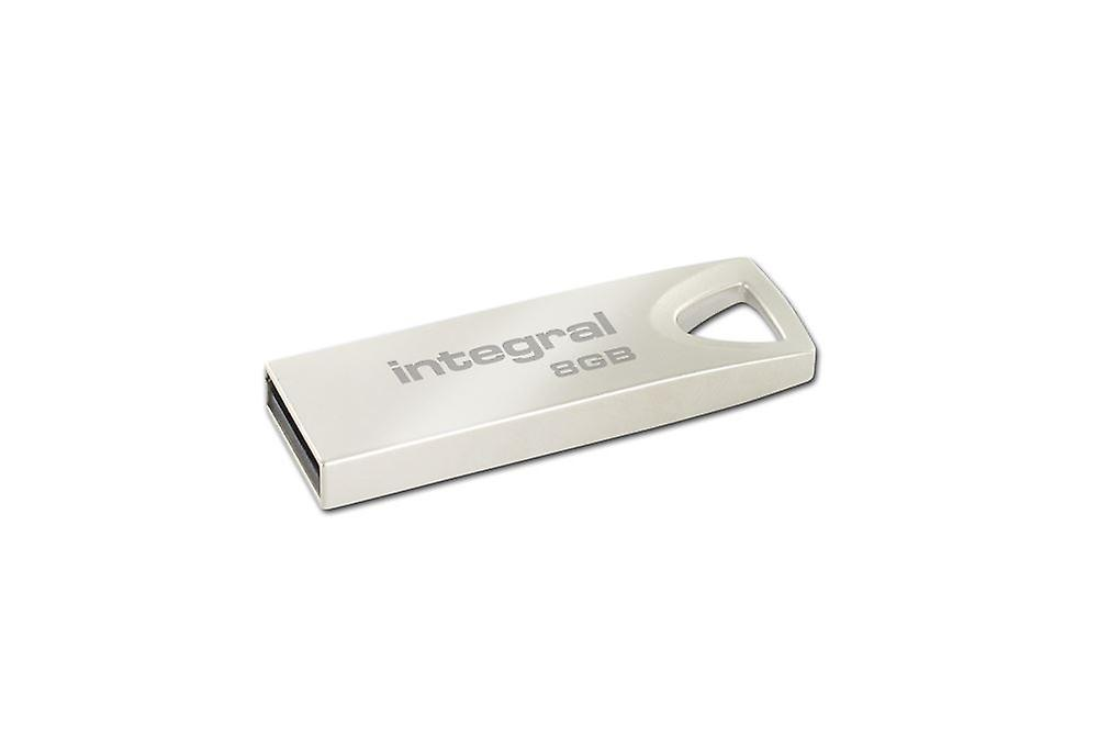 Integral 8GB ARC USB Stick with a Stylish Metal Capless Design.
