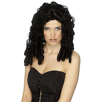 Movie star wig medium long black curly wig