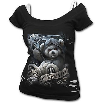 Spiral - TED THE GRIM - TEDDY BEAR - Womens 2in1 White Ripped Top Black