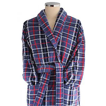 Bown of London Penzance Egyptian Cotton Velour Dressing Gown - Blue/Red/White