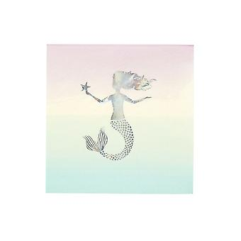 Talking tables We Heart Mermaid 33cm Napkin with Foil, Multi, Pack of 16