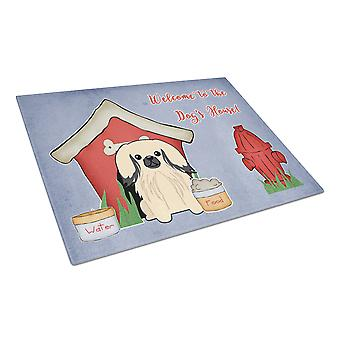 Dog House Collection Pekingnese Cream Glass Cutting Board Large