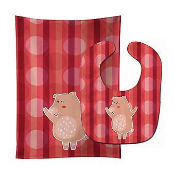 Carolines Treasures  BB6742STBU Dancing Pig Baby Bib & Burp Cloth