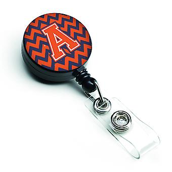 Letter A Chevron Orange and Blue Retractable Badge Reel