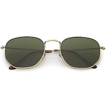 Große Metall sechseckigen Sonnenbrillen schlanke Arme Neutral farbige flache Linse 54mm
