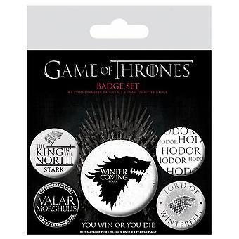 Game of Thrones Badge Pack Winter is Coming house stark new Official 5 X button