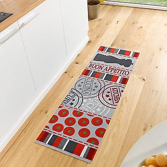 Washable kitchen runner Buon Appetito red grey 50 x 150 cm