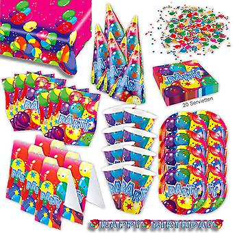 Happy birthday party set XL 63-teilig for 6 guests birthday decoration Kit