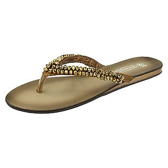 Ladies Spot On Jewelled Toe Post Sandals