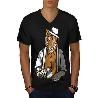 Tiger Poker coole Gangster Männer BlackV-Neck T-shirt | Wellcoda