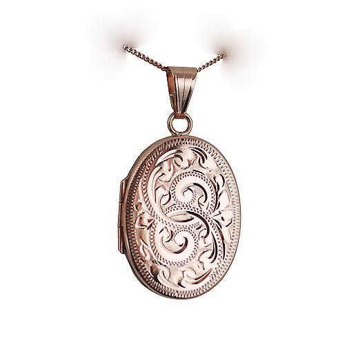9ct Rose Gold 26x19mm hand engraved flat oval Locket with a curb Chain 16 inches Only Suitable for Children