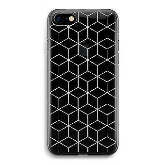 iPhone 7 Transparent Case (Soft) - Cubes black and white