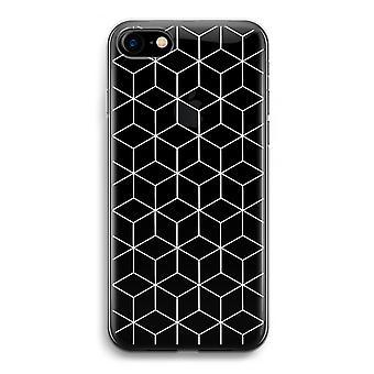 iPhone 7 transparentes Gehäuse (Soft) - Würfel schwarz / weiß