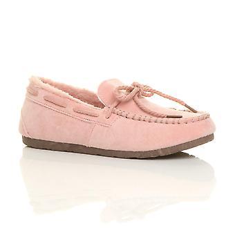 Ajvani womens faux sheepskin fur flexible sole boat shoes moccasins slippers