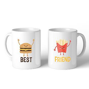 Hamburguesa y papas fritas BFF juego regalo café tazas 11 Oz para hermanas