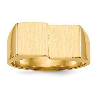 14 k Yellow Gold solide satijn gepolijst Open rug Engravable Mens Signet Ring - 7,6 gram - Size 10