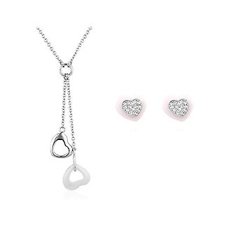 Parure: Necklace and earrings, hearts in ceramic white and Silver 925
