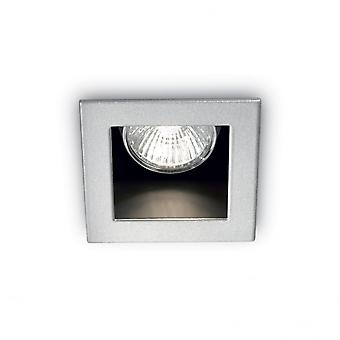 Ideal Lux Funky Square Ceiling Recessed Downlight With Off Set Bezel, GU10, Aluminium