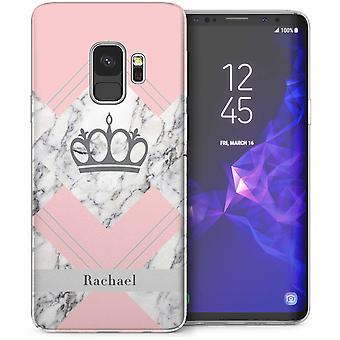 Samsung Galaxy S9 roze marmer gepersonaliseerde TPU Gel geval