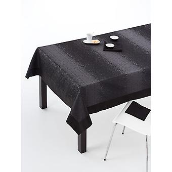 ES-TELA Jacquard tablecloth with black zafra napkins with applique
