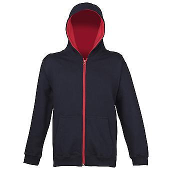 Awdis børn farver Varsity Zoodie hætteklædte Full Zip Sweat jakke
