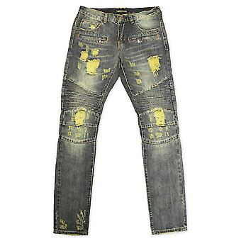 Embellir NYC Lincoln Biker Denim Wash Pierre Biker bleu Jeans