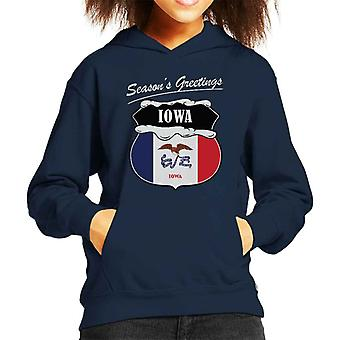 Seasons Greetings Iowa State Flag Christmas Kid's Hooded Sweatshirt