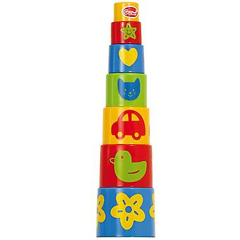 Gowi Toys Educational Pyramid Stacker (7 Parts) Stacking Building Blocks