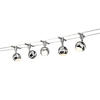 QAZQA Lighting Cable System Tubos 5 LED Globe Chrome