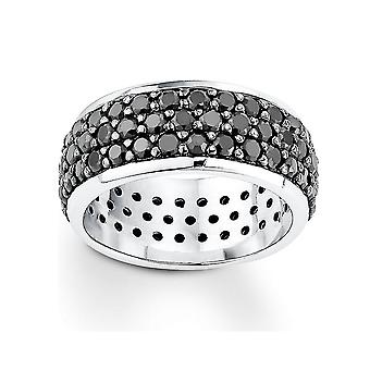s.Oliver jewel ladies silver cubic zirconia ring black SO638