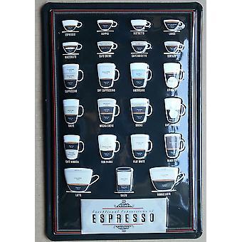Eksepsjonell uttrykk for Espresso preget stål tegn 300 X 200 Mm
