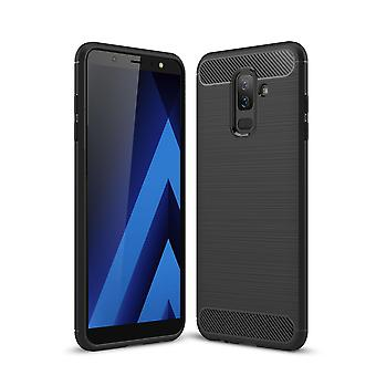Samsung Galaxy J8 2018 Hülle Silikon Schwarz Carbon Optik Case TPU Handyhülle Bumper
