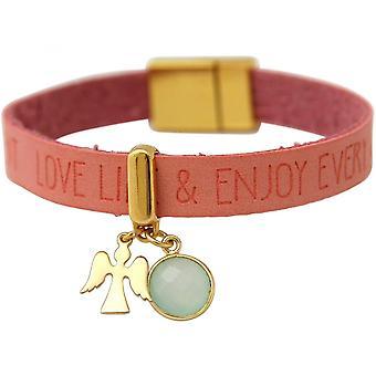 Roze - Chalcedoon - sea green - magnetische sluiting - wensen - pink - verguld dames-armband - bescherming Angel
