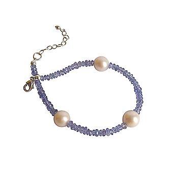 Edelsteen armband blauw paarse tanzanite en parel armband