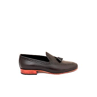 Handcrafted Premium Leather Bort Black Loafer