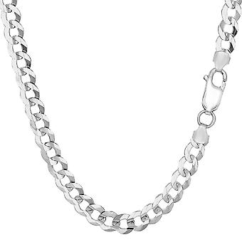 Sterling Silver Rhodium Plated Curb Chain Bracelet, 8.5